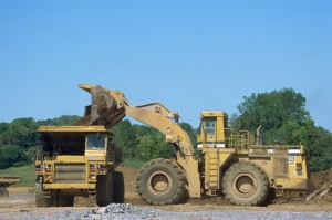 Heavy construction equipment for auction at Dakil