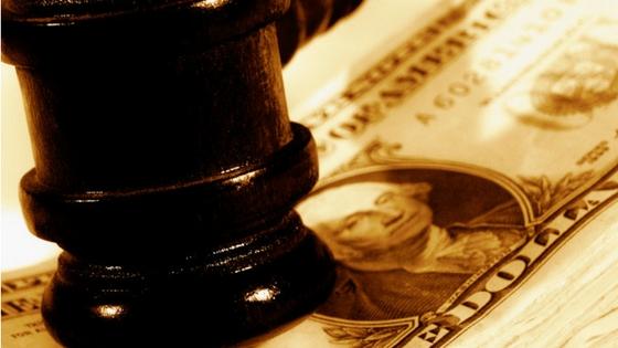 Auction Gavel on Dollar Bill