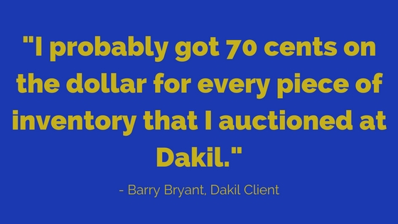 Barry Bryant Quote about making 70 cents on the dollar for his items with Dakil